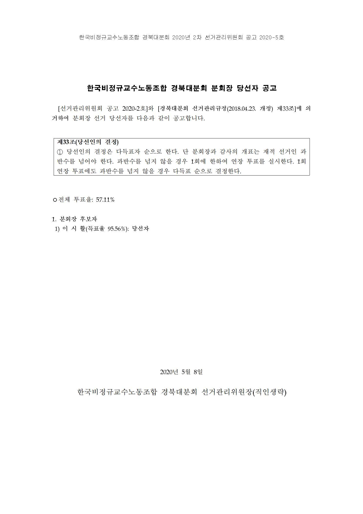 한국비정규교수노동조합 경북대분회 분회장선거 당선자 공고.jpg